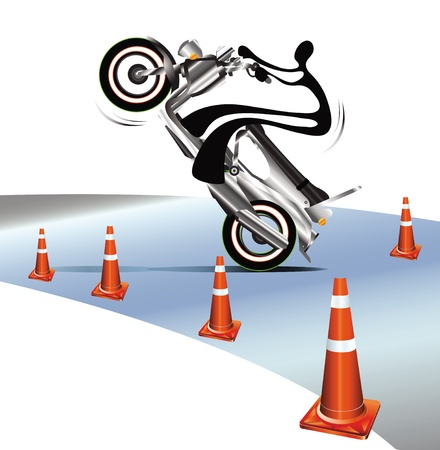 one wheel bike: Shadow man ride motorcycle whee up and driving test have cone background. Illustration
