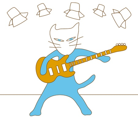 Cat blue cartoon concert play electronic guitar on stage one man show music