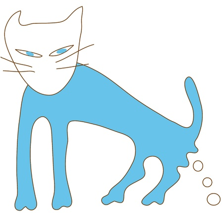 excrete: Blue cat excrete in action
