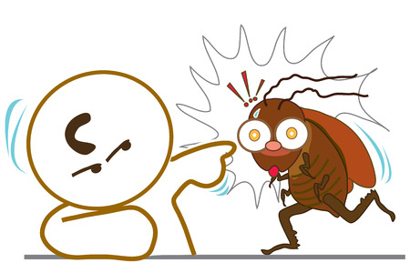 Man point to Cockroach Stop walk Illustration