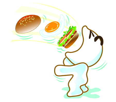 Illustration of funny cartoon character eating burger in funny way