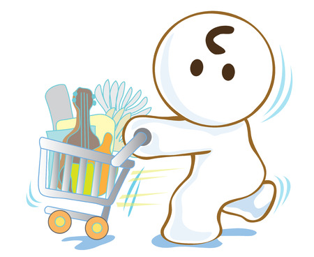 super market:     Illustration of funny cartoon character shopping in super market