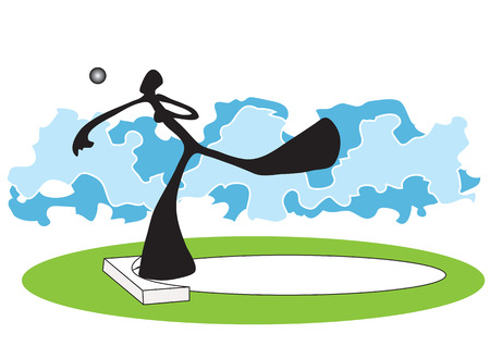 exert: Shadow man putt the weight in the field Illustration