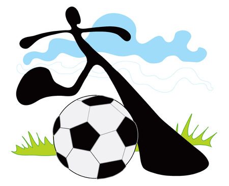 level playing field: Shadow man play soccer game in team in picture he just kick ball