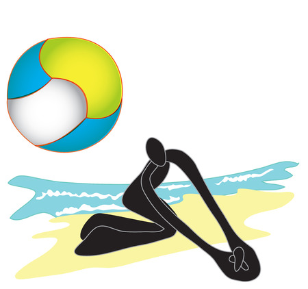 sand beach: Shadow man play Beach Volleyball in which a large ball is hit by hand   over a high net, the aim being to score points by making the ball reach the ground on   the sand beach
