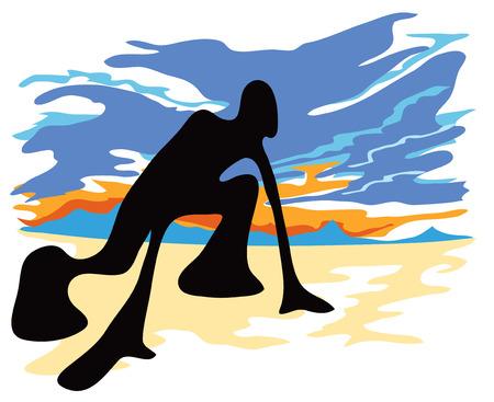 Shadow man athletics  he Bunch Start Stock Vector - 29495129