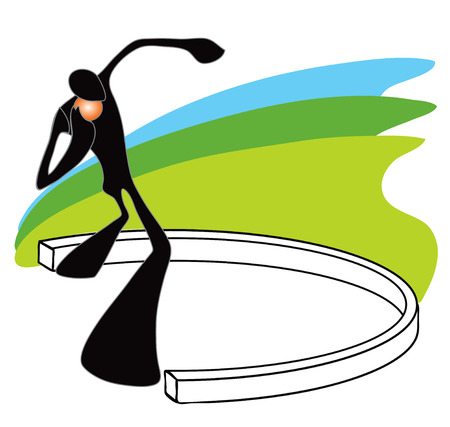 shot put: Shadow man putt the weight in the field Illustration