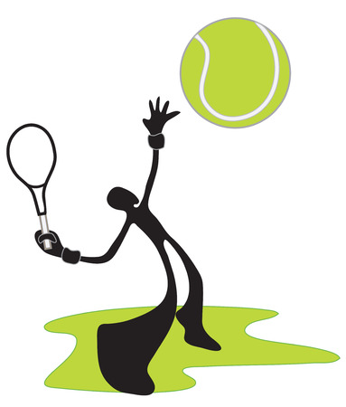 exert: Shadow man play tennis game in stadium he use racket Illustration
