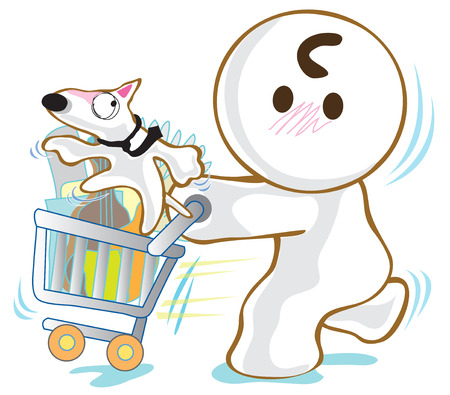 super dog: He go to Super Market to shopping and have Dog Bull Terrier in Basket Cart so funny