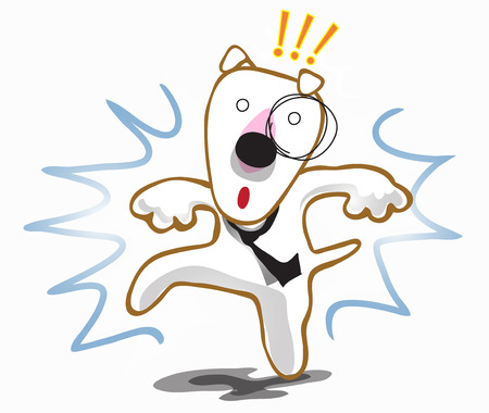 interruption: Dog Bull terrier frighten interruption stop walking Illustration