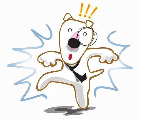 Dog Bull terrier frighten interruption stop walking Illustration