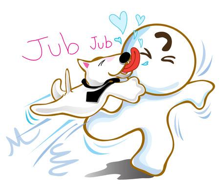 licking: Dog Bull terrier jumping kiss friend lover