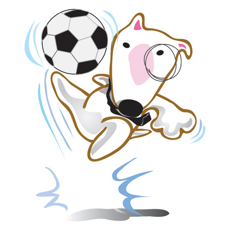 Dog Bull Terrier play soccer game in team in picture he just Jumping kick ball Illustration