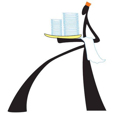 negocios comida: Hombre de la sombra cocinero sirven comida de negocios s�mbolo para ilustrar en la revista o Publicidad Vectores