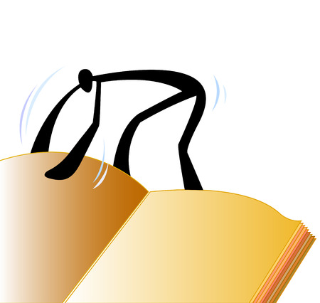 stoop: shadow man open big book and reading you can input your word in book Illustration