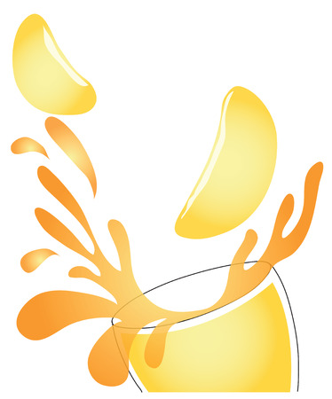 rebound: Orange juice rebound in glass color are transparent graphic use for your beverage business