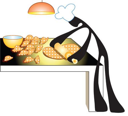 thresh: Chef hizo postre y trilla harina por la madera en la cocina de fondo rollo habitaci�n aislar