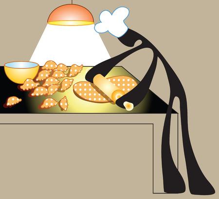 thresh: Chef hizo postre y trillar la harina por el rodillo de madera en la sala de cocina