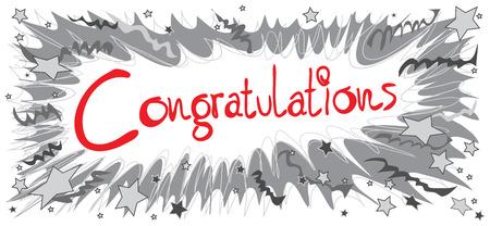 お祝いの言葉単語赤い色のグラフィック デザイン鉛筆スケッチ ブームがリボンとスター
