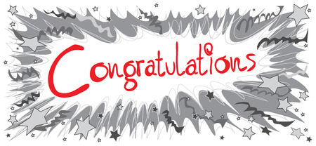 isolated: Congratulations word red color graphic design Pencil sketch Boom have ribbon and star