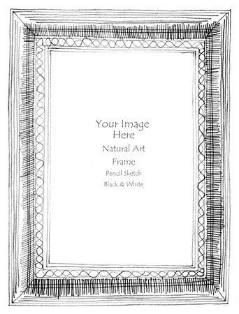 Frame art line pencil sketch by hand my idea is no have original reference. Black and white color Stock Photo