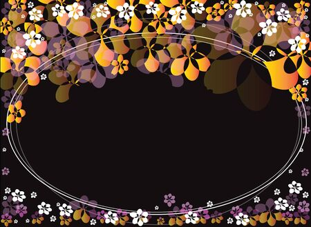 ova: Background picture oval frame flower yellow pink background black