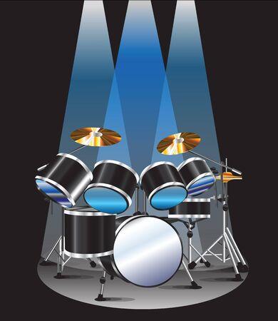 Drum set background blue lighting graphic