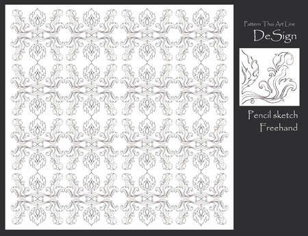 pencil sketch: Pattern flowers and leave Thai art line graphic design from pencil sketch freehand for tile, wall paper, textile, paper background isolate