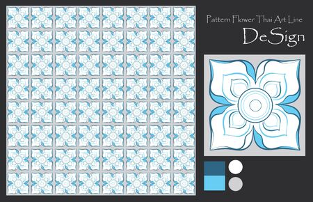wall paper: Pattern flowers Thai art line graphic design from pencil sketch for tile, wall paper, textile, paper