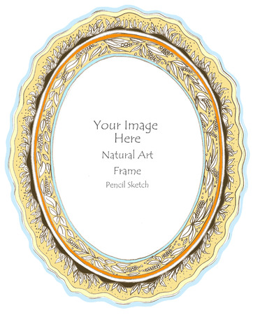 pencil sketch: Photo frame flower and leave ( Oval ) pencil sketch freehand background isolate.