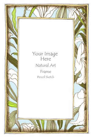 pencil sketch: Photo frame Lily flower and leave pencil sketch freehand concept nature gray color background isolate Stock Photo