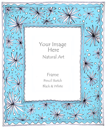 pencil sketch: Frame natural art line flower star pencil sketch by hand my idea is no have original reference. Black and white color