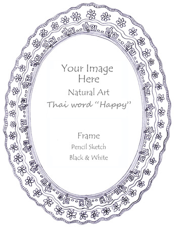 pencil sketch: Frame Thai word Happy meaning and flower natural art line pencil sketch by hand my idea is no have original reference. Black and white color
