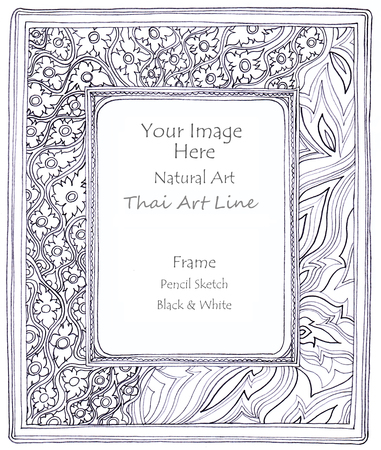 pencil sketch: Frame natural Thai art line pencil sketch by hand my idea is no have original reference. Black and white color Stock Photo