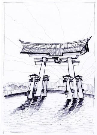 pencil sketch: itsukushima shrine Landmark in Japan pencil sketch