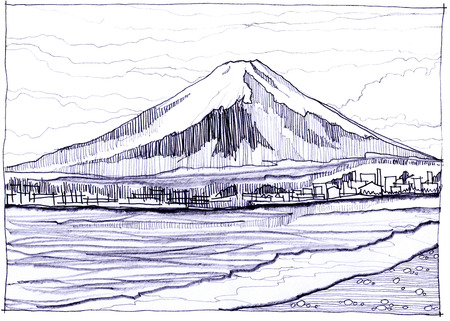 pencil sketch: Fuji Yama snow mountain in Japan I have see more picture in Internet and get idea picture pencil sketch style Stock Photo