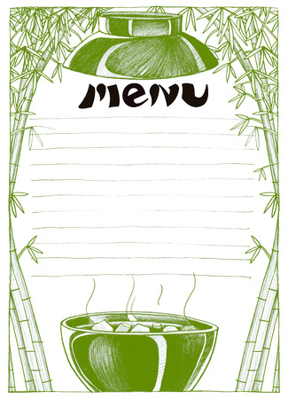 pencil sketch: Menu design Key visual is Japanese soup bowl have gimic is bamboo cartoon symbol art line pencil sketch by hand my idea is no have original reference. Black and white color