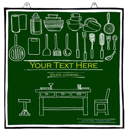 Cook items on green color notice board design for Advertisement Label Logo brochure banner pattern card background menu restaurant pencil sketch concept idea cartoon and symbol photo