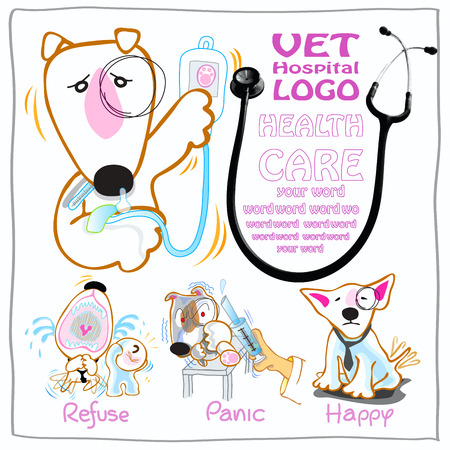 Veterinary or Vet card design symbol are Bull Terrier dog have many feeling to presented your hospital good to take care all be better and happy