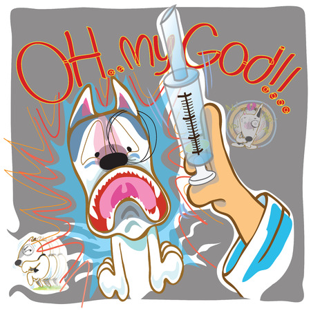 runny nose: Dog Fear syringe Doctor to presented Veterinary or Vet cartoon illutration column design presnted by Bull Terrier Stock Photo
