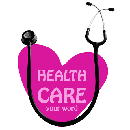 hart: Hospital symbol or sticker or card design have stethoscope and hart meaning are health care background isolate