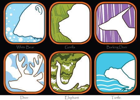 barking: Simbolo Orso Gorilla Barking Deer Elephant Turtle disegno segno brochure modello Animal World Ampia Vita