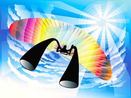 paragliding: Paragliding symbol sport games design on the sky under the sunshine in summer Illustration