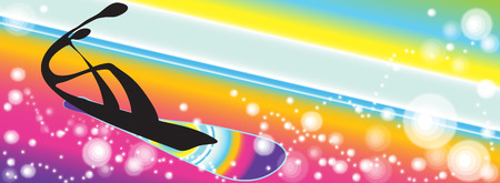 shadow man: Shadow man Snowboarding rainbow background design for symbol logo banner background pattern