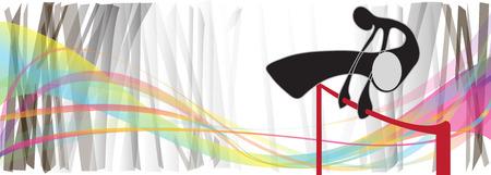 sway: Shadow man design for Gymnastics hight jumping rainbow background summer sport in door for symbol banner logo pattern