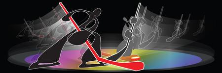 hockey skates: Shadow man design for Ice Hockey Skates sport in door for symbol banner logo pattern Illustration