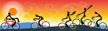 intimately: Shadow man ride bicycle  with team or friend tour trip mountain landscape time in sunrise sky symbol design  summer sport and for tourism Illustration