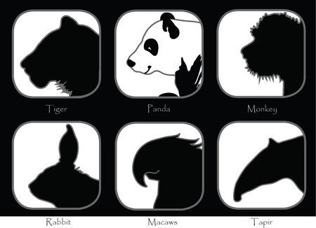 Symbol Tiger Monkey Panda Tapir Macaws Rabbit Black and white sign brochure pattern design Animal World Wide Life  イラスト・ベクター素材