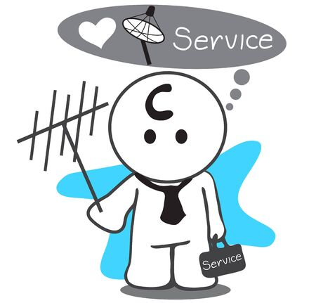 better: Satellite service man or Mechanic changing a satellite dish antenna for better reception symbol design so cute have tool bag