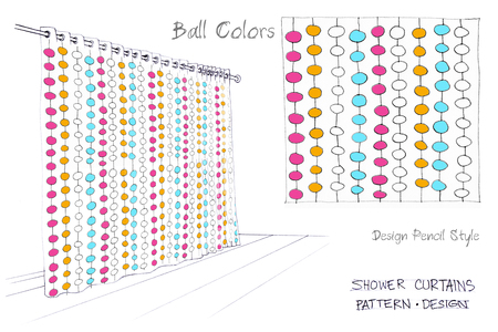 art product: Shower curtains Ball colors one color pencil sketch freehand three colors pattern design art work for screen print idea of your decorate product and production for sale whole sale and retail Stock Photo